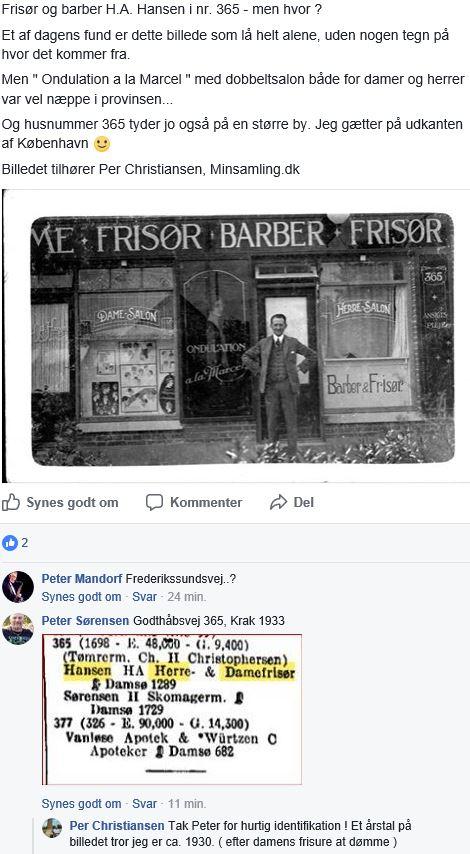 10877.1  Godthåbsvej 365, 2720 Vanløse  H.A. Hansen, frisør og barber.  Kbh. Omegn 30.9.2017