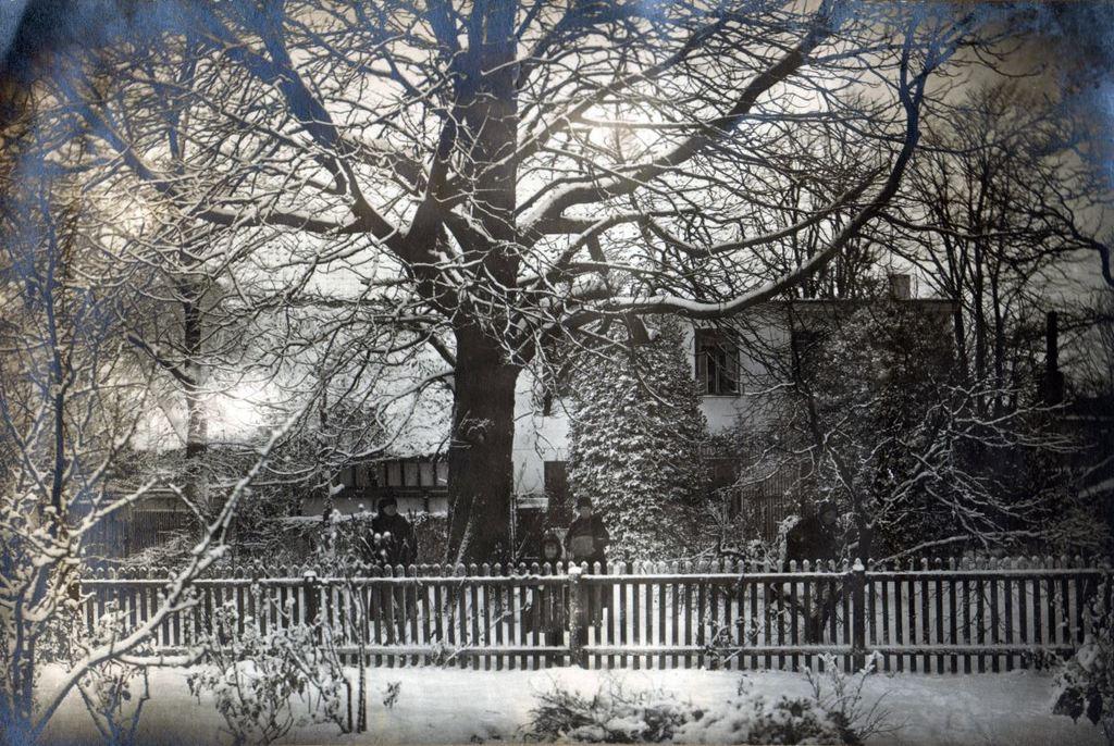 71.97 Helsingør ca 1917. Peter Sletting med familie boede i stuen i baggrunden. Børnene ses ved det store kastanietræ i haven. Bedstemor ( enkefru Marie Magdalene Sletting i baggrunden sammen med Holga Sletting ) Potnummer 3000  HH 4.1. og 31.7 2017