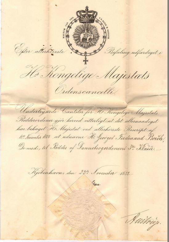75.115  Udnævnelse til Ridder af Dannebrogsordenens tredie klasse for Georg Ferdinand Borch 23. november 1888.