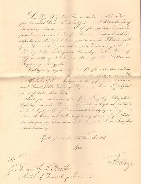 75.115.2  Udnævnelse til Ridder af Dannebrogsordenens tredie klasse for Georg Ferdinand Borch 23. november 1888.