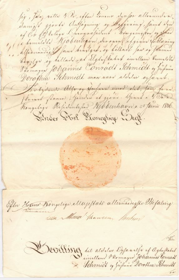 75.119.1  Skilsmissebevilling mellem skomager Johannes Conradt Schmidt og hustru Dorothea Schmidt. Bevillingen er givet i 1836. Dengang kunne der sagtens gå 6-8 år fra ansøgning om skilsmisse til bevilling.