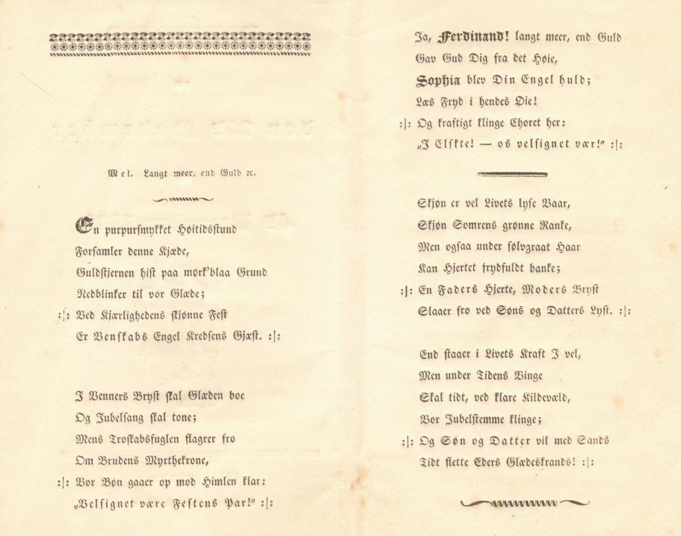 75.120.3  Sang sungen på Skyttehaven 4. december 1831 i anledning af Ferdinand Felix Borchs bryllup med Sophie Cathrine Quist den 26. november samme aar.