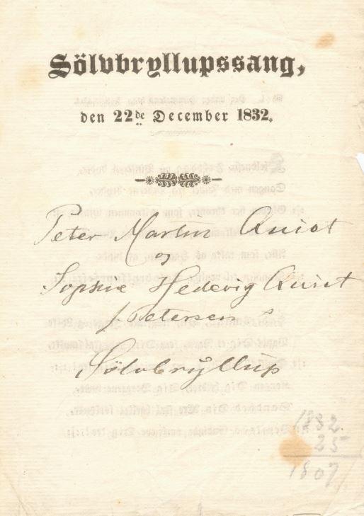 75.123.1 Sølvbryllupssang ved Peter Martin Quist og Sophie Hedevig Quist f. Petersen´s sølvbryllup 22. december 1832