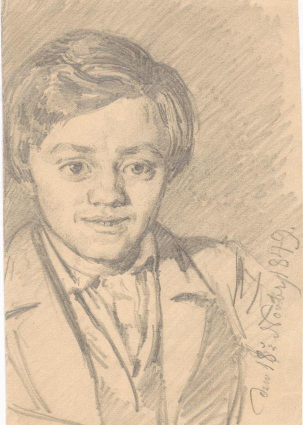 75.128.1  Adolph Borch, bror til G.F Borch 1849  Tegnet af kunstmaleren Frederik Christian Lund f. 1826