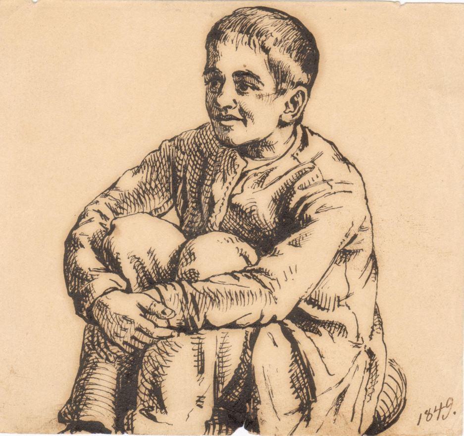 75.130.1  William Sophus Borch 1849 ( 12 år) Tegnet af kunstmaleren Frederik Christian Lund f. 1826