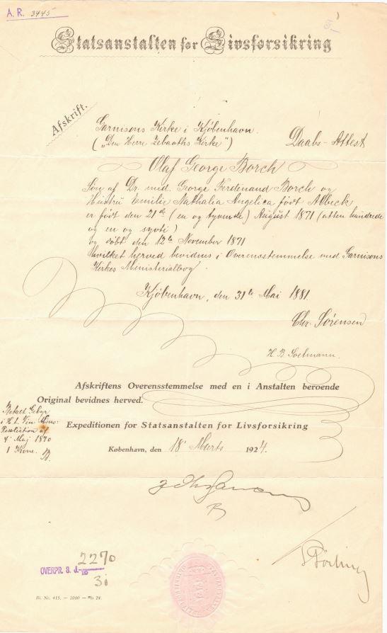 75.134  Udskrift af dåbsattest for Olaf Georg Borch, f. 21.8. 1871