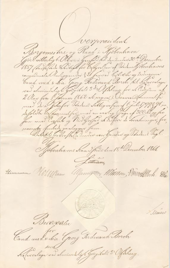 75.135  Beskikkelse som cand. med og chirurg for Georg Ferdinand Borch.  Dateret 18. december 1861 hvor Borch var 25  år.