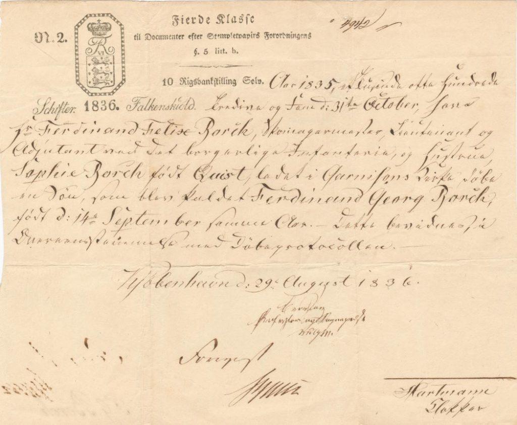 75.138  Dåbsattest for Georg Ferdinand Borch, f. 14.9 1835 Forældrene var skomagermester, liutenant og adjudant ved det borgerlige infanteri Ferdinand Felix og hustru Sophie Borch f. Quist.