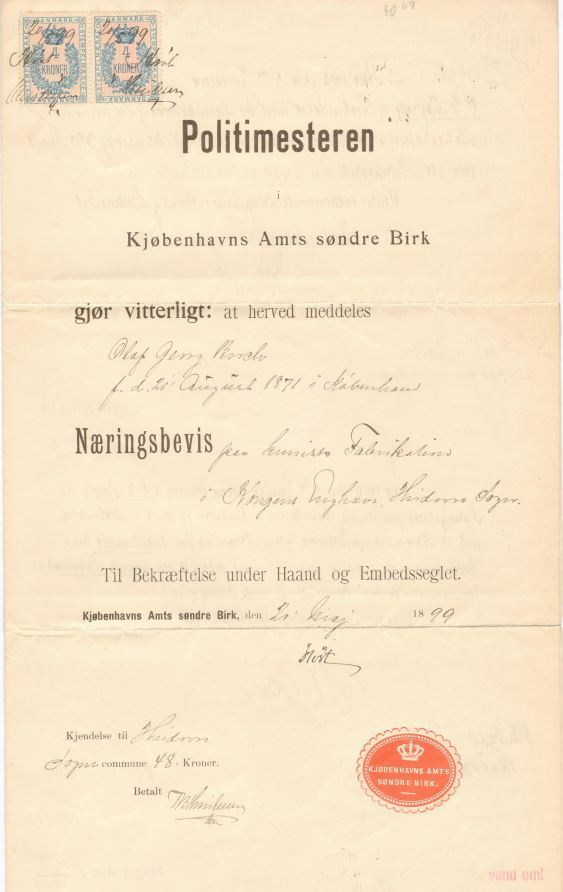 75.141.1  Næringsbevis for Olaf Georg Borch f. 21.8 1871 som fabrikant