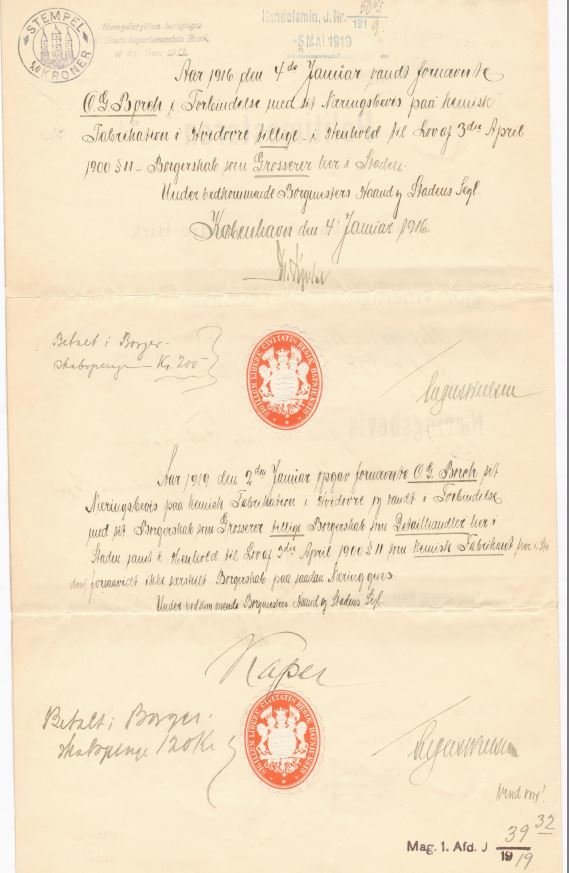 75.141.2  Næringsbevis for Olaf Georg Borch f. 21.8 1871 som fabrikant