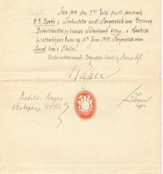 75.141.3  Næringsbevis for Olaf Georg Borch f. 21.8 1871 som fabrikant