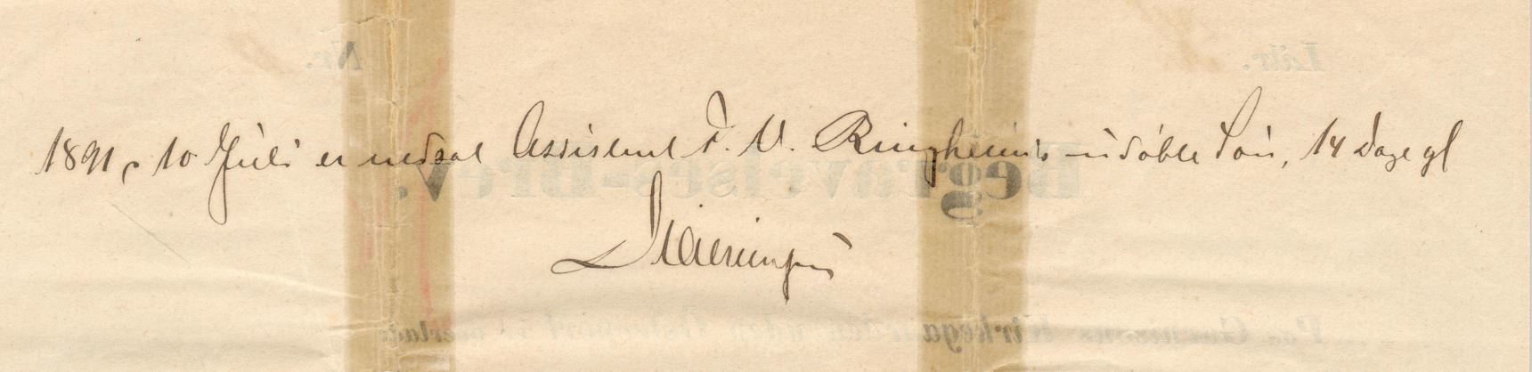 75.142  Begravelsesbrev for dyrlæge David Gotschalk Ringheim f. 1787. Gravstedet er købt for 100 år, og har notater med hvilke familiemedlemmer der er stedt til hvile på stedet.