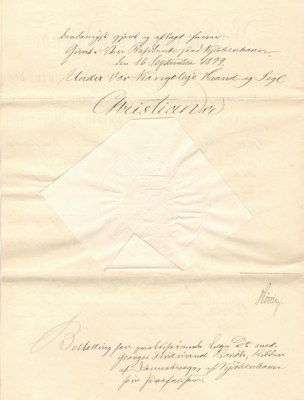 75.143.2  Beskikkelse som praktiserende læge for Georg Ferdinand Borch. Dateret 16. september 1899