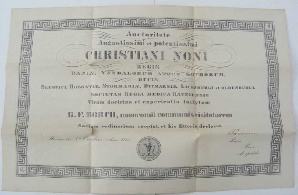 75.146  Autorisation som læge for Georg Ferdinand Borch, udstedt 5 oktober 1865 hvor Borch var 30 år gammel.