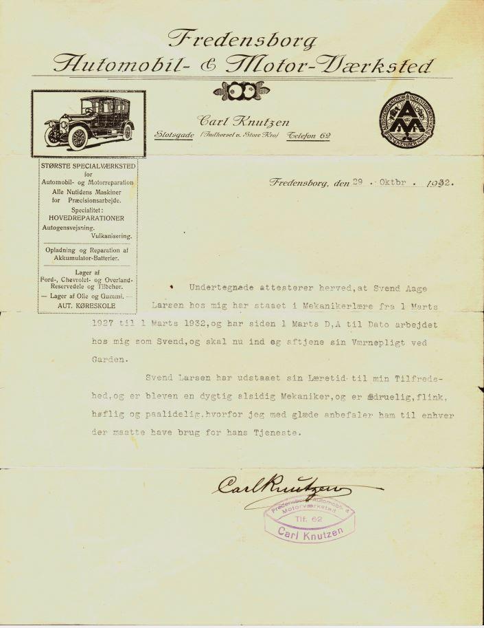 100.8.22 Anbefaling automekaniker Svend Åge Larsen år 1932.