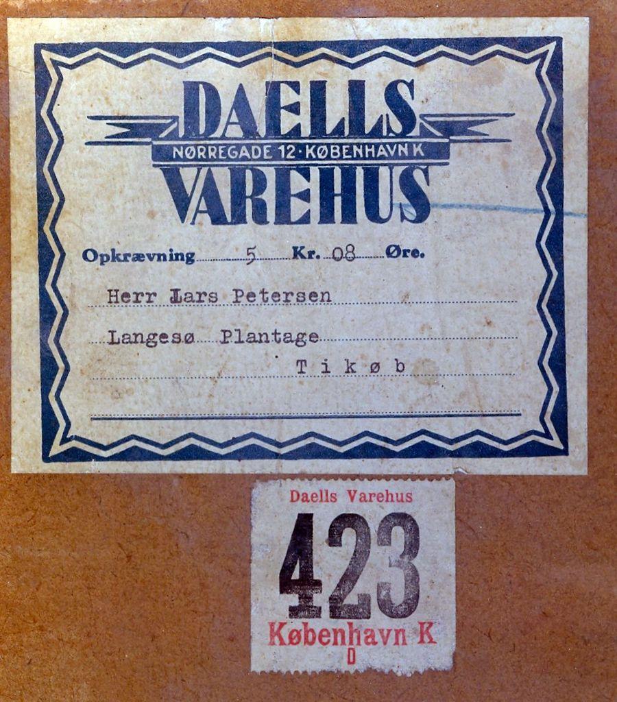 10.6 Adressemærke på kartonæsken hvor de mange billeder lå i.