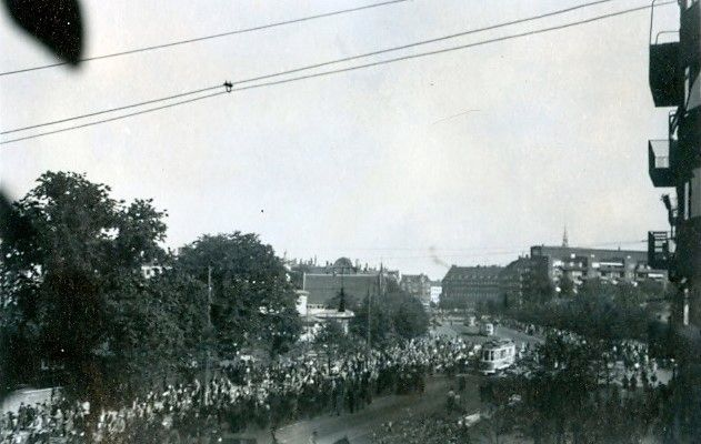 """30.730 Udsigten fra Åboulevard 7 i august 1943 hvor Forum """"gik"""""""