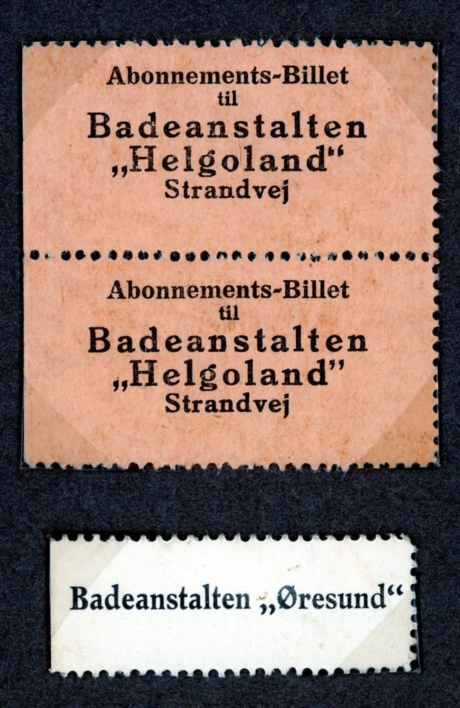 70.493 Badebilletter, Helgoland og Øresund.