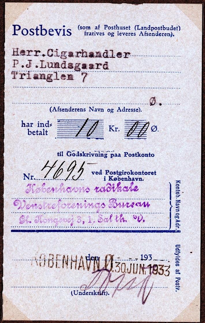 70.497 Kvittering Radikale 1933.